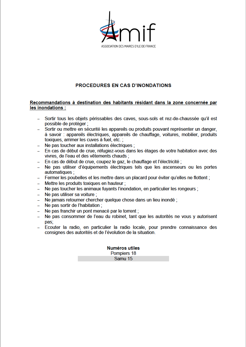 Proceduresencasdinondations
